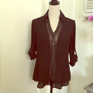 Express The Portofino shirt w/ mesh applic…